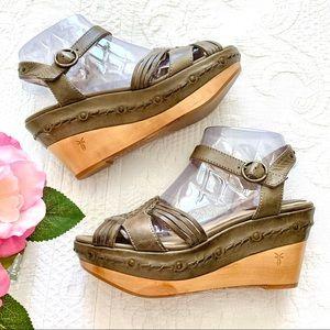 FRYE Carlie Huarache Platform Wedge Sandals 8.5 M